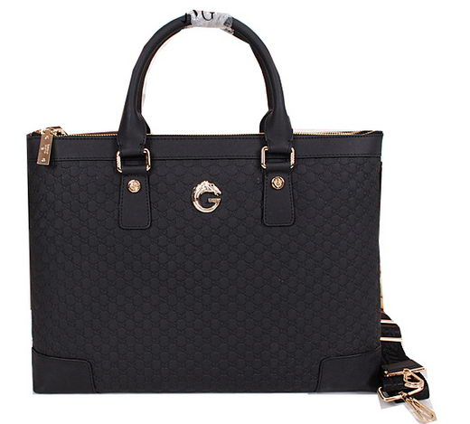 Gucci Guccissima Leather Business Briefcase G8638 Black