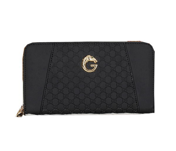 Gucci Guccissima Leather Zip Around Wallet 6007 Black