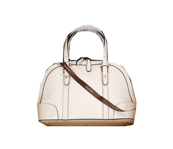 Gucci Nice Small Top Handle Bag Patent Leather 309617 White