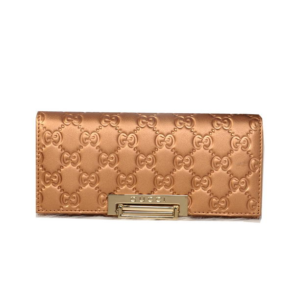 Gucci Original Guccissima Leather Bi-Fold Wallet 803A Gold