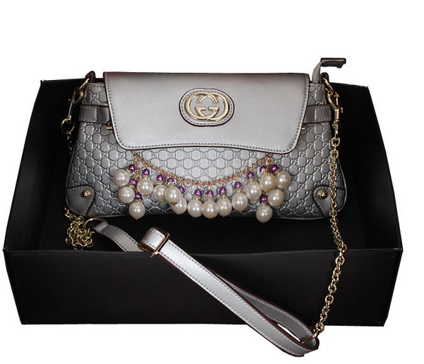 Gucci Silver pearl leather Chain Shoulder Bag 336747