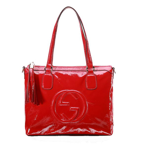 Gucci Soho Top Handle Bag Patent Leather 308362 Red