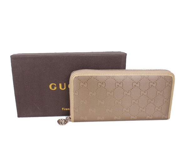 Gucci Waterproof Fabric Interlocking G Zip Around Wallet 212110 Light Gold
