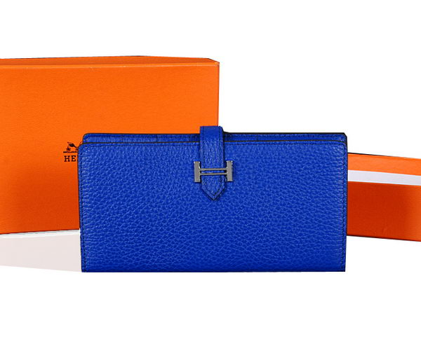 Hermes Bearn Japonaise Bi-Fold Wallet Original Leather A1018 Blue