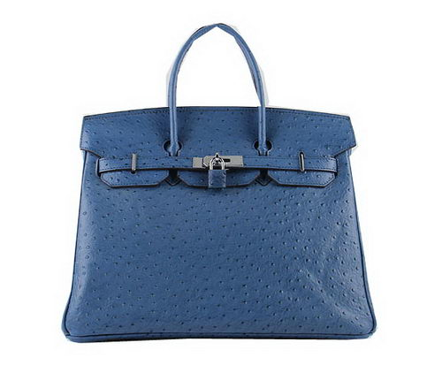 Hermes Birkin 35CM Tote Bags Blue Ostrich Leather H6089 Silver