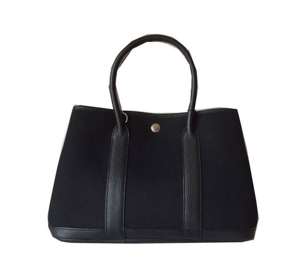 Hermes Garden Party 30CM Bag Canvas Leather H11S Black