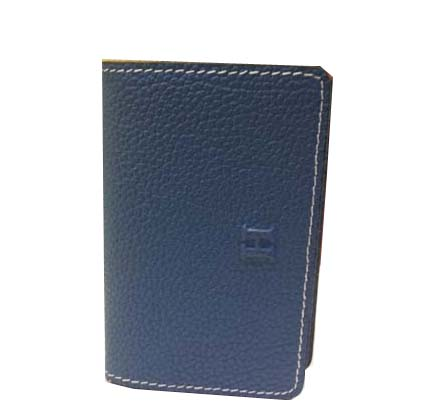 Hermes Grainy Leather Business Card Holder H887 Dark Blue