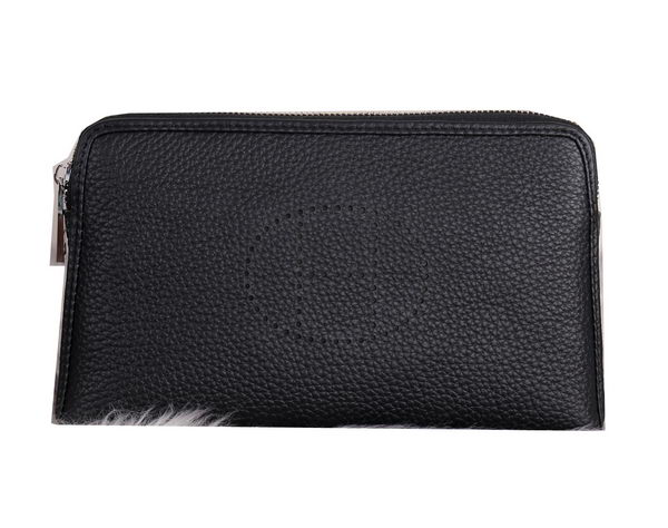 Hermes Grainy Leather Clutch H2281 Black
