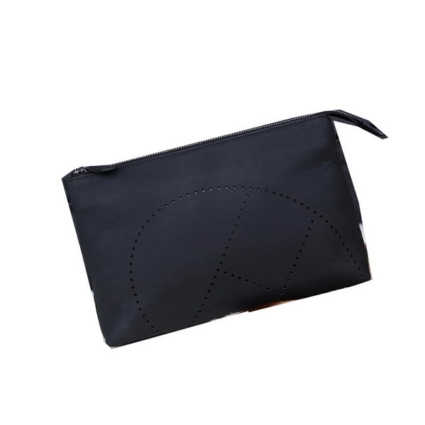 Hermes Grainy Leather Clutch H8015 Black