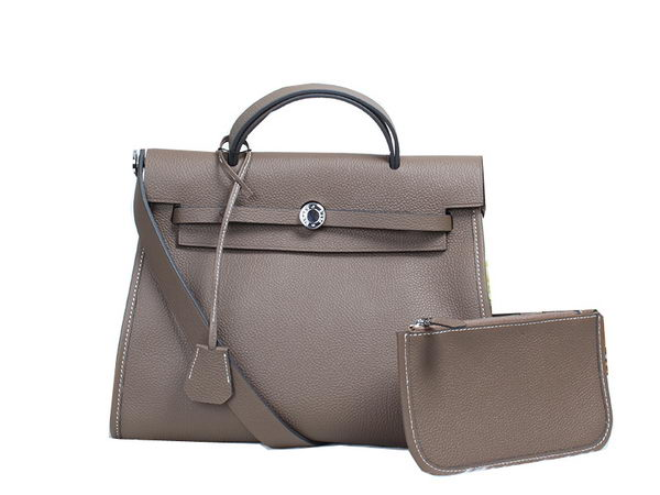 Hermes HerBag in Togo Leather Grey