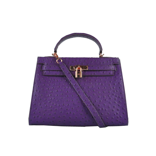 Hermes Kelly 32cm Shoulder Bags Purple Ostrich Leather Gold