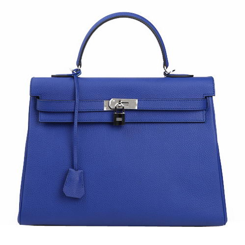 Hermes Kelly 35cm Top Handle Bag Blue Original Leather Silver