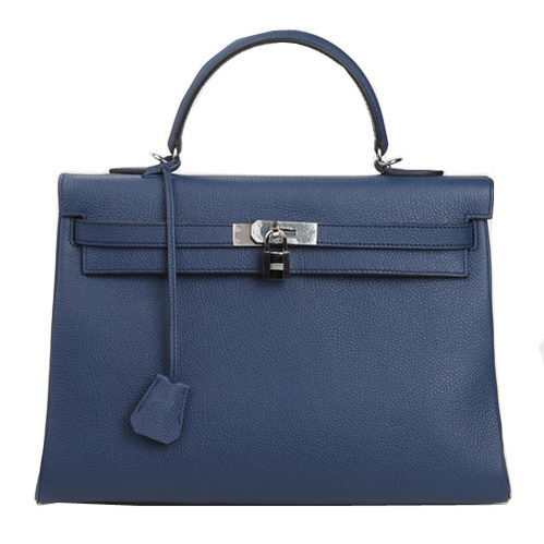 Hermes Kelly 35cm Top Handle Bag Dark Blue Original Leather Silver