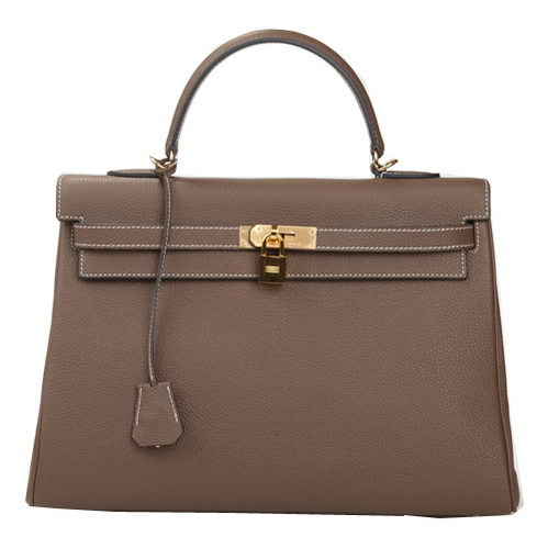 Hermes Kelly 35cm Top Handle Bag Khaki Original Leather Gold
