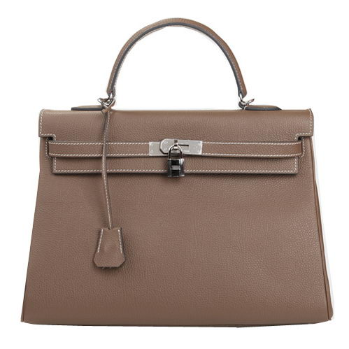 Hermes Kelly 35cm Top Handle Bag Khaki Original Leather Silver