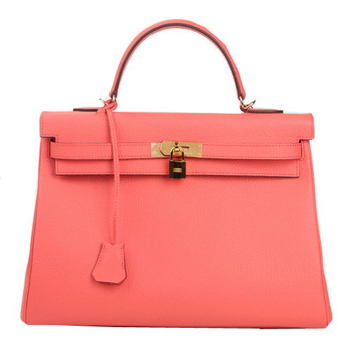 Hermes Kelly 35cm Top Handle Bag Pink Original Leather Gold