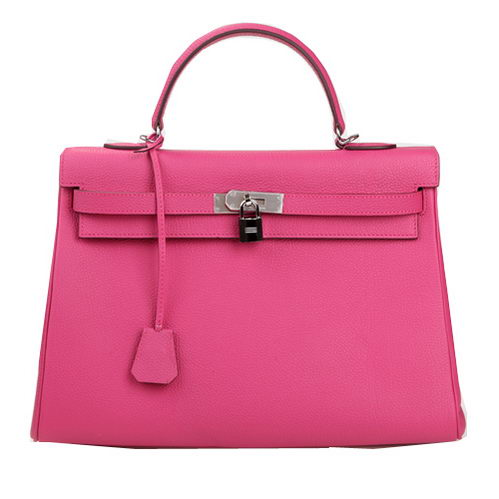Hermes Kelly 35cm Top Handle Bag Rose Original Leather Silver