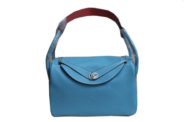 Hermes Lindy 34CM Shoulder Bag in Light Blue Grainy Leather