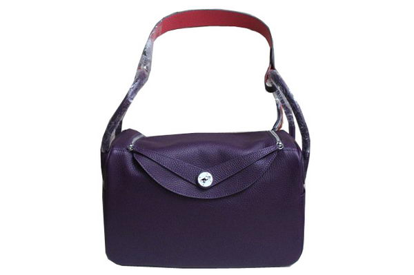 Hermes Lindy 34CM Shoulder Bag in Purple Grainy Leather