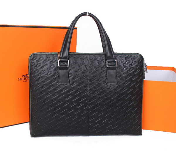Hermes Mens Briefcase Calf Leather 38131 Black