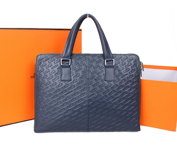 Hermes Mens Briefcase Calf Leather 38131 Blue