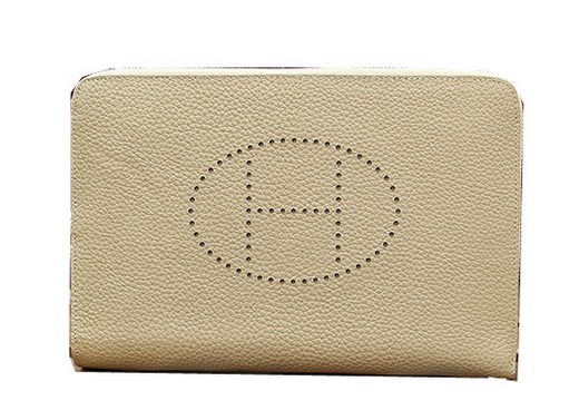 Hermes Original Grainy Leather Clutch H8026 Grey