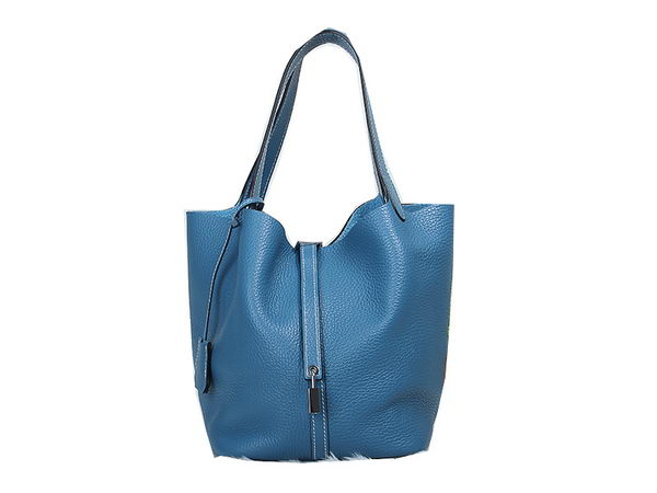 Hermes Picotin Lock MM Bag in Original Leather Blue