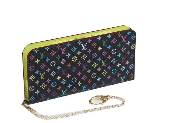 Louis Vuitton Black Monogram Multicolore Insolite Wallet M66567 Green