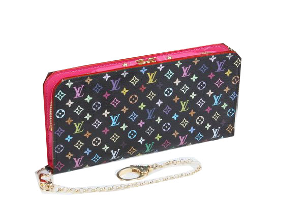 Louis Vuitton Black Monogram Multicolore Insolite Wallet M66567 Rose