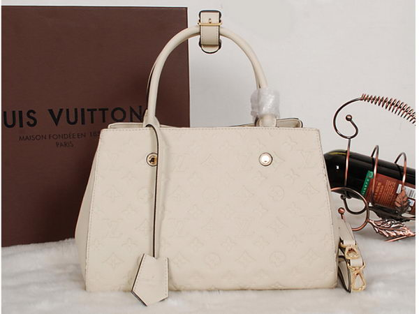 Louis Vuitton M41046 Monogram Empreinte Montaigne MM Beige