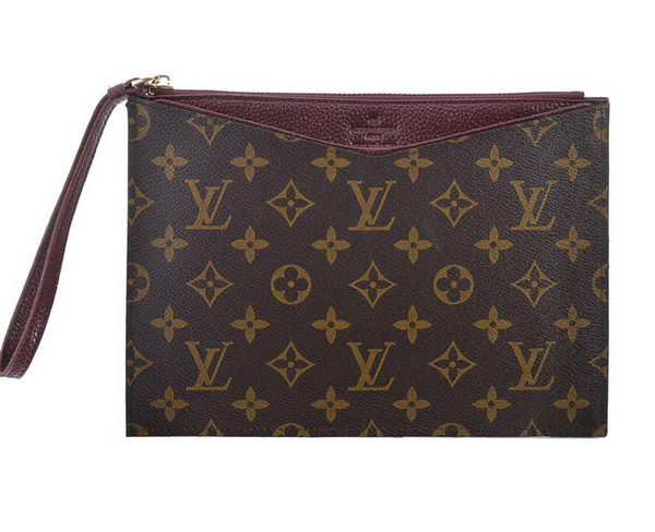 Louis Vuitton Monogram Canvas Clutch M60607 Burgundy