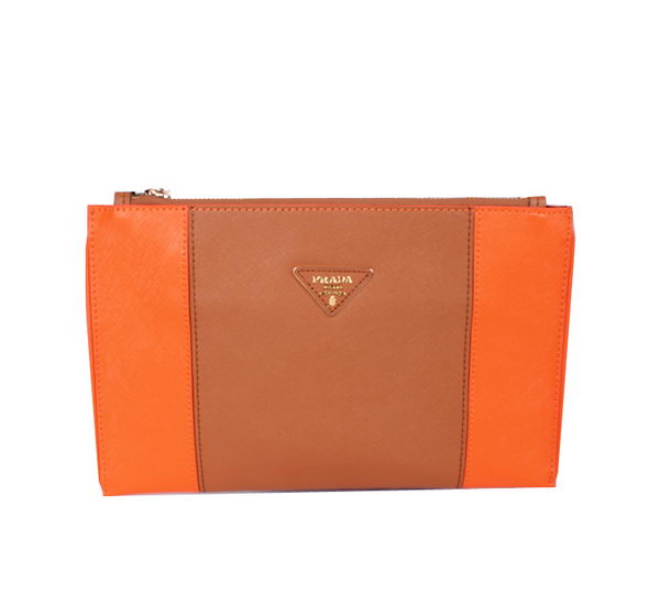 PRADA Saffiano Calf Leather Clutch BP625 Orange&Wheat