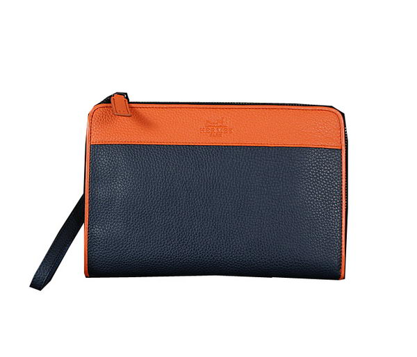 Hermes Grainy Leather Clutch 5805 RoyalBlue&Wheat