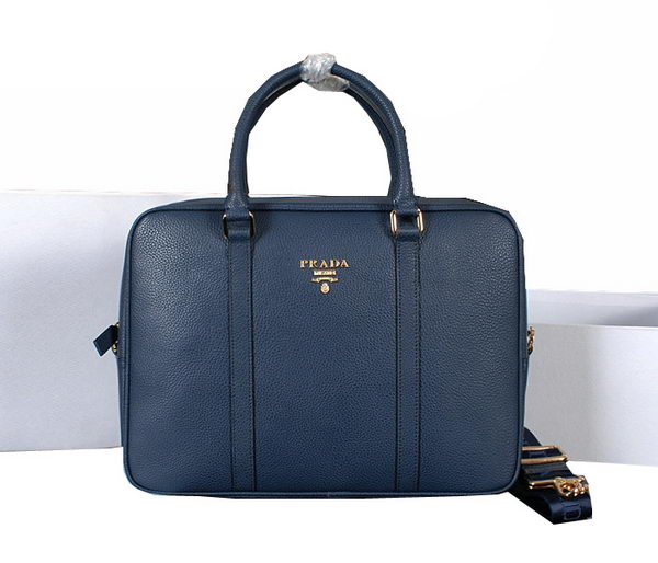 Prada Grainy Calf Leather Briefcase 80661 Blue