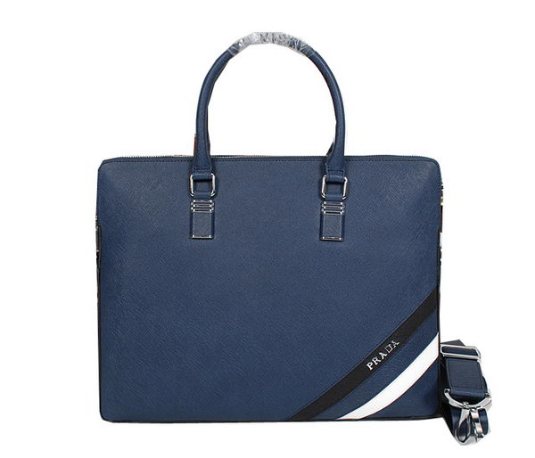 Prada Original Calf Leather Briefcase 83961 Blue