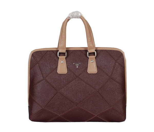Prada Original Calf Leather Briefcase P102 Brown