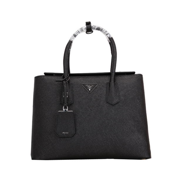 Prada Twin BN2635 Black Original Saffiano Leather Cuir Tote Bag