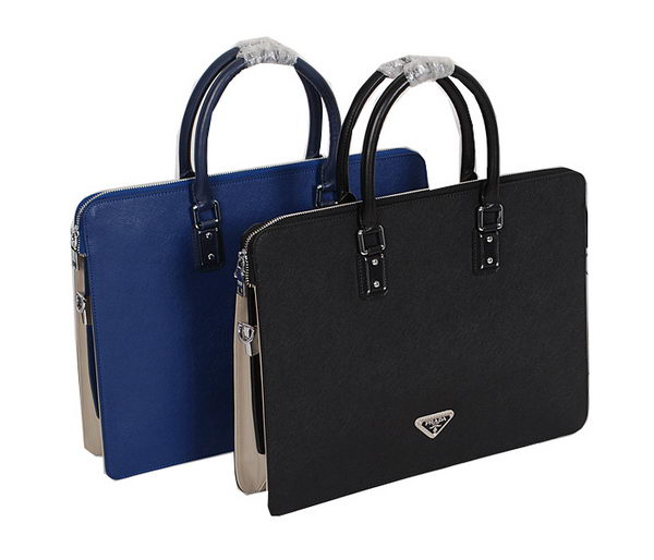 Prada Saffiano Calf Leather Briefcase BN8080 Black&RoyalBlue