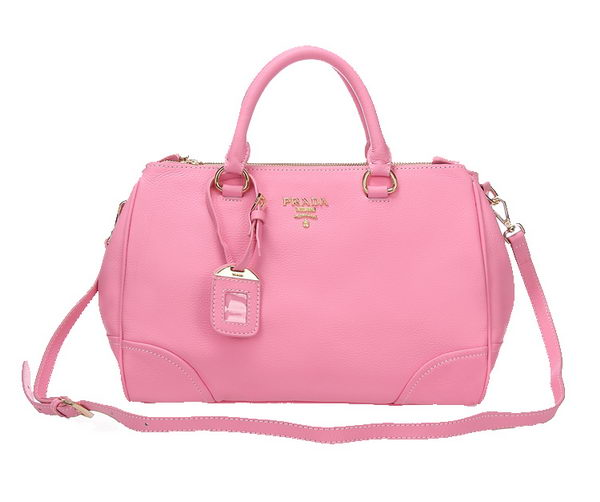 PRADA BN2324 Pink Litchi Leather Tote Bag