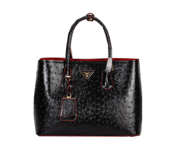 Prada Ostrich Veins Leather Tote Bag BN2756 Black