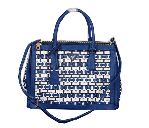Prada Weave Leather Tote Bag BN2274 Royal