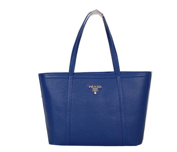 PRADA Grainy Leather Shoulder Bag BR6046 Blue