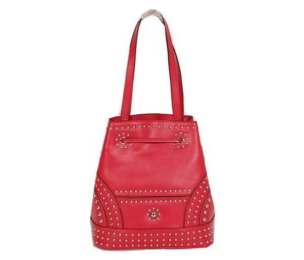 PRADA B5061H Red Studded Leather Bucket Bag