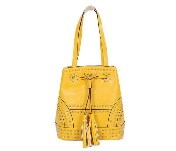 PRADA B5061H Yellow Studded Leather Bucket Bag