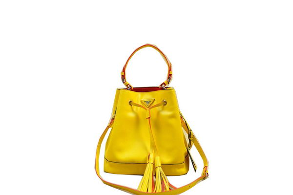 PRADA Original Leather Bucket Bag BR5069 Yellow