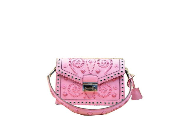 Prada BN924E Pink Saffiano Leather Flap Bag