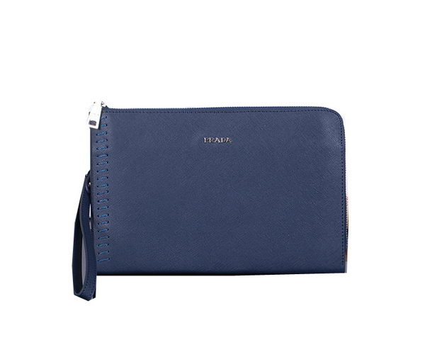 Prada Saffiano Leather Clutch P3339 Blue