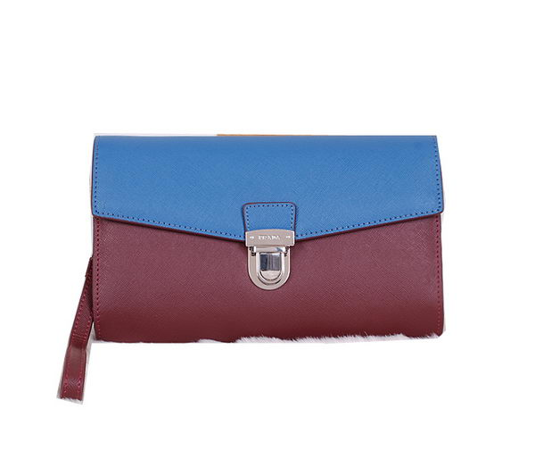 Prada Saffiano Leather Document Holder VR0075 Wine&Blue