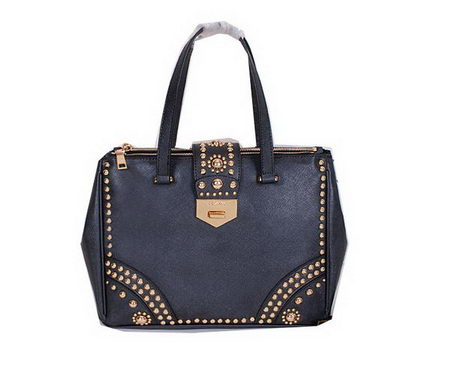 Prada Saffiano Leather Tote With Metal Studs Bag B2752M Black