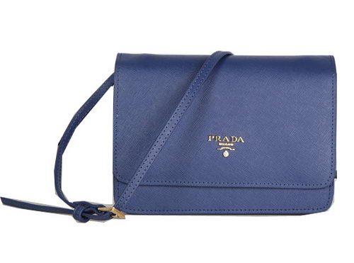 Prada Saffiano Leather Flap Shoulder Bag BT1213 Royal